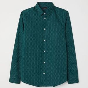 Men's H&M Dark Green Dotted Dress Shirt Slim Fit